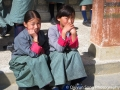 Bhutanese girls in their school uniform, which is a kira