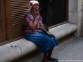 Cuban woman smoking a cigar