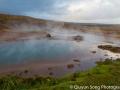 A steaming, sulphuric geyser