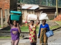 Three sisters, walking home. In Rwanda, women transporting all sorts of things on their head is still a very common sight
